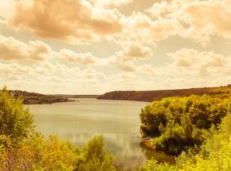 summer riverside landscape