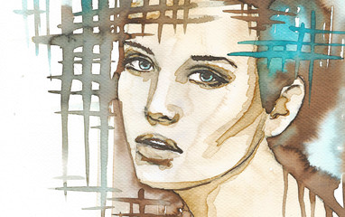 illustration of the abstract portrait of a woman