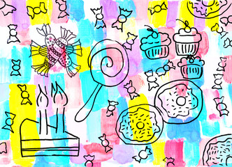 Children's drawing of a sweets background