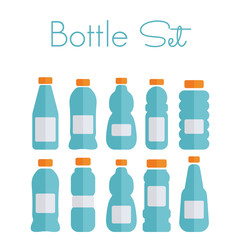 Plastic bottle set - flat icons