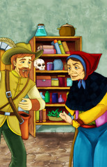 Witch and the hunter in old room