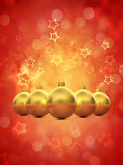 Golden christmas baubles on red background