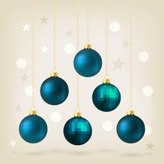 Blue Christmas bauble card design