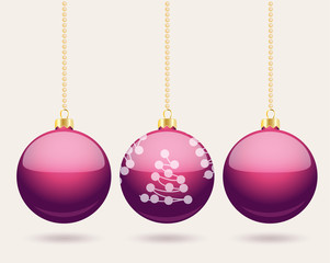 Hanging purple Christmas baubles background