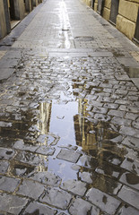 Puddle of water on the street