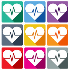 Heart Pulse flat icon. Heart Rate Flat icon. Vector Illustration