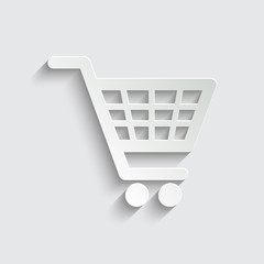 shopping basket - icon with shadow on a grey background