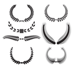 Set of laurel wreaths for design