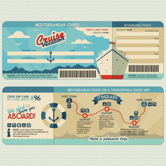 Cruise ship boarding pass design template