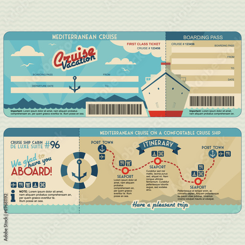 Cruise ship boarding pass design template - 69681192