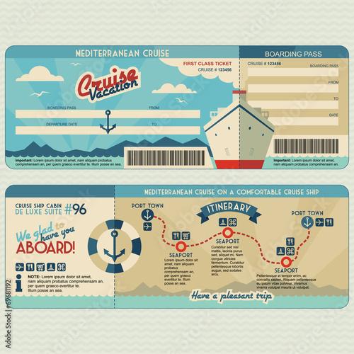 Fototapeta Cruise ship boarding pass design template