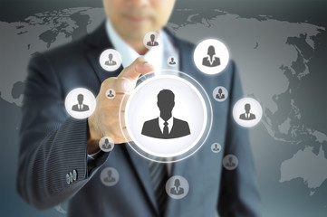 Hand pointing to businessman icon  - HR & recruitment  concept