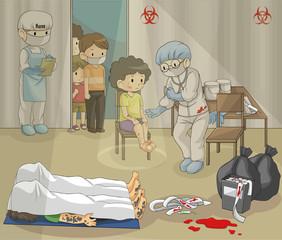 Ebola or epidemic disease is spreading harshly. Doctor is examin