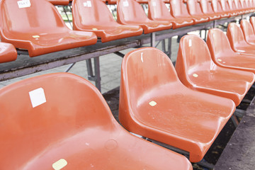 Red seats in a grandstand