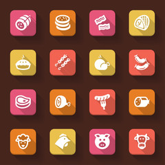 Meat flat icons