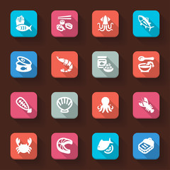 Seafood flat icons