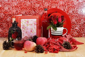 Romantic red theme rose vintage lamp apple decor idea