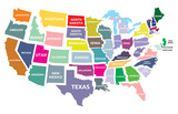Fototapety USA map with states
