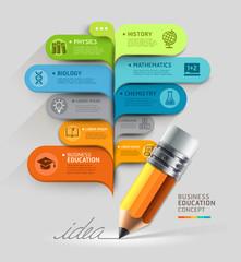 Business education concept. Pencil and bubble speech template. c