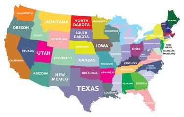 fototapeta mapa USA z państwami