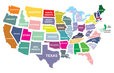 USA map with states © branchecarica