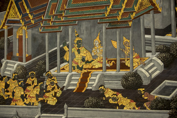 タイの王宮寺院の回廊の壁画