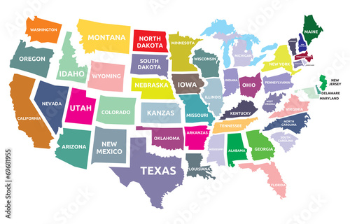 USA map with states Poster