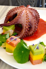 octopus with corn grits