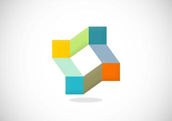 business square color design element vector logo