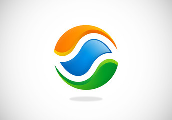 circle abstract round water ecology vector logo