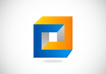 square 3D building construction vector logo