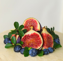 Fruit topping decoration with fig