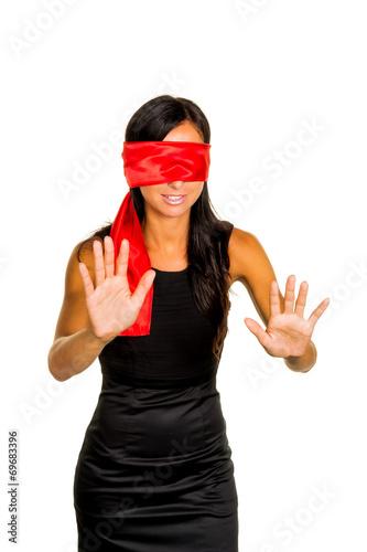 canvas print picture Frau mit verbundenen Augen