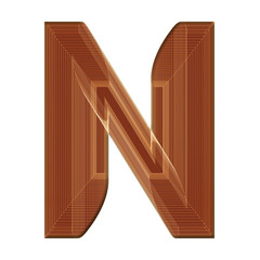 Letter N in brown with wireframe design