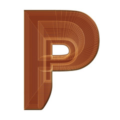 Letter P in brown with wireframe design