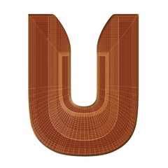Letter U in brown with wireframe design
