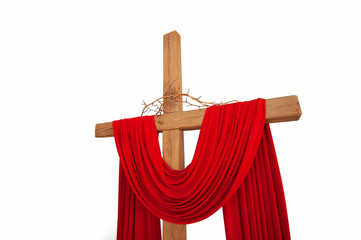 A wooden christian cross with a crown of thorns isolated on whit