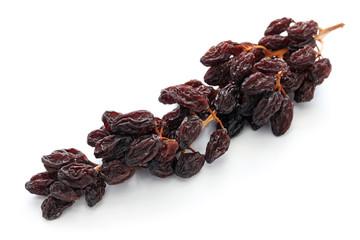 raisins on the vine isolated on white background