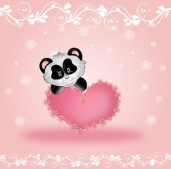 Lovely panda with pink heart