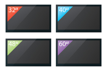 Illustration of flat screen televisions isolated with different