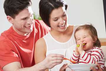 Parents Feeding Baby Daughter From Bowl