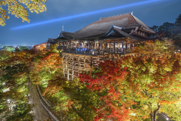 Kiyomizu-dera Shrine in Kyoto, Japan at Night