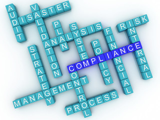 3d image Compliance concept word cloud background