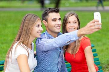 Friends making a selfie