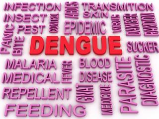 3d image Dengue concept word cloud background