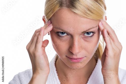 canvas print picture Frau mit Kopfschmerzen