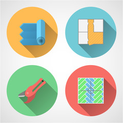 Flat icons for linoleum flooring service