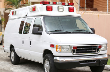 Side part of a white ambulance
