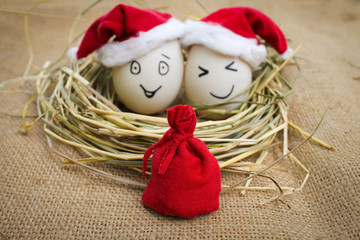Happy eggs at Christmas. Red bag in focus