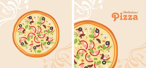 Delicious pizza. Background for menu design
